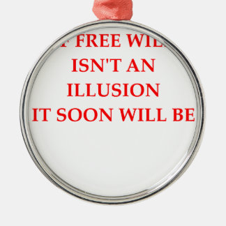 free will round metal christmas ornament