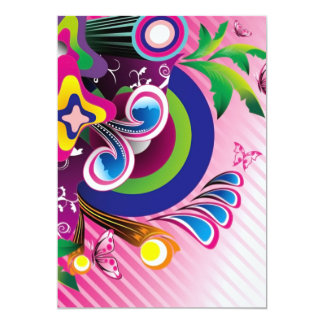 """Free Wonderful Colorful Background Vector Graphics 5"""" X 7"""" Invitation Card"""