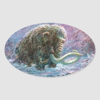 Free Woolly Mammoth Ice Age Perseverance Oval Sticker