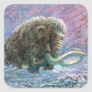 Free Woolly Mammoth Ice Age Perseverance Square Sticker