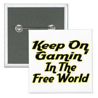 Free World Gaming Pinback Button