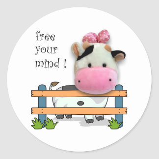 Free Your Mind - Cow Classic Round Sticker
