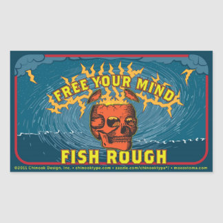 Free Your Mind! Fish Rough! (sheet of 4 stickers) Rectangular Sticker