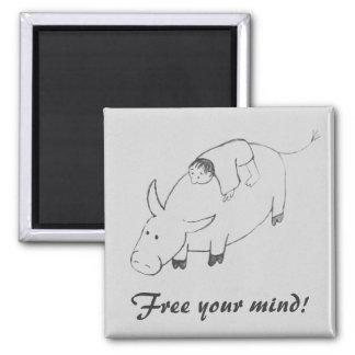 Free your mind original zen painting magnet
