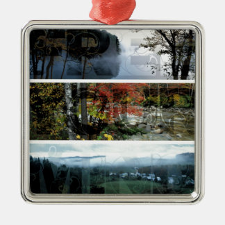 Free Your Mind Panoramic Scenery - Explore Worlds Square Metal Christmas Ornament