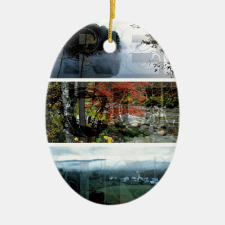 Free Your Mind Panoramic Scenery - Explore Worlds Double-Sided Oval Ceramic Christmas Ornament