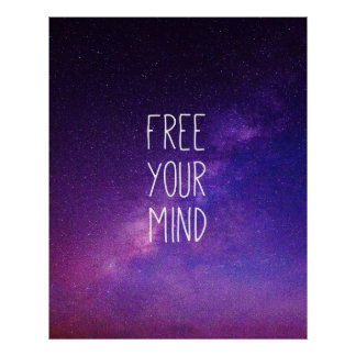 """Free Your Mind"" Quote Blue Night Sky Poster"