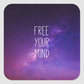 """""""Free Your Mind"""" Quote Purple Blue Sky Stars Square Sticker"""