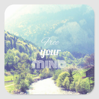 Free your mind square sticker