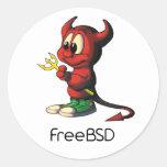 freebsd mascot classic round sticker