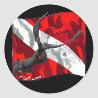 freediving copy classic round sticker