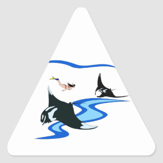 Freediving with Manta Triangle Sticker