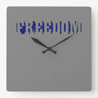 FREEDOM (2) light edge Square Wall Clock