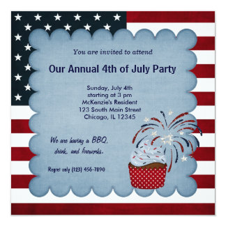 "Freedom 4th of July 5.25"" Square Invitation Card"