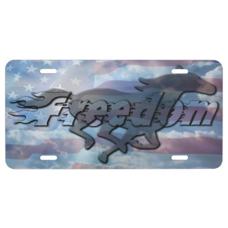 FREEDOM AMERICAN FLAG HORSE AND BLUE SKY LICENSE PLATE