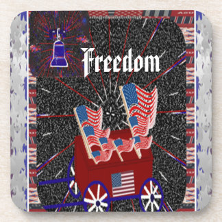 Freedom American Flag Wagon ~ Coasters (Square)