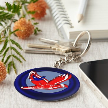 USA Themed Freedom and Peace Keychain
