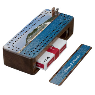 Freedom at St. Martin Personalized Wood Cribbage Board