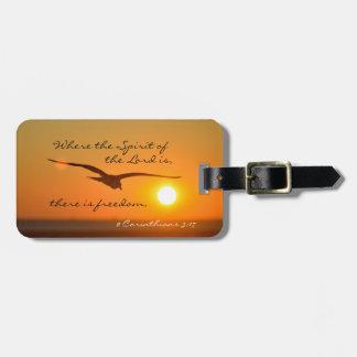 Freedom Bible Verse, Bird Flying at Sunset Custom Bag Tag