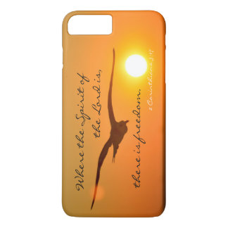Freedom Bible Verse, Bird Flying at Sunset iPhone 7 Plus Case