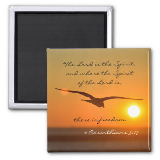 Freedom Bible Verse, Bird Flying at Sunset Magnet