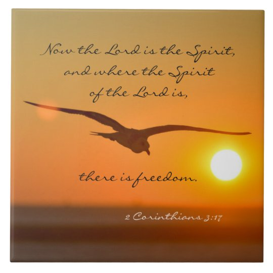 Freedom Bible Verse Bird Flying At Sunset Tile Zazzle