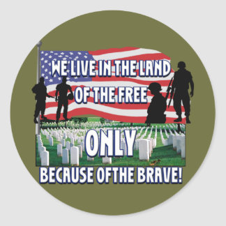 FREEDOM COSTS!  WE LIVE FREE BECAUSE OF SOLDIERS ROUND STICKERS