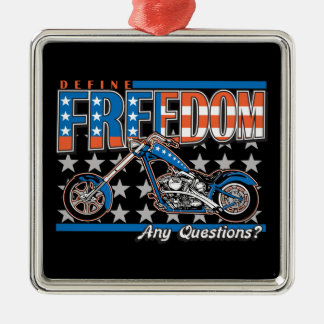 Freedom Cycle American Flag Paint Motorcycle Metal Ornament
