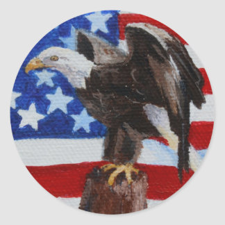 Freedom Eagle aceo Button Classic Round Sticker