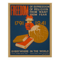 Freedom Everywhere In The World WPA Vintage Poster