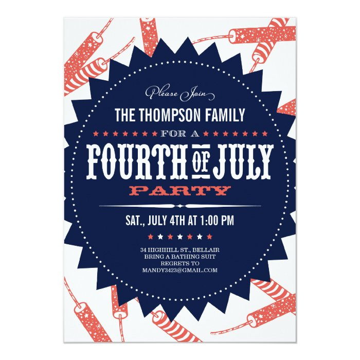 Freedom fireworks fourth of july party invitations zazzle for Do they have a 4th of july in england