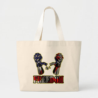 Freedom Flag Broken Chains Large Tote Bag