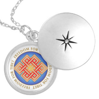 Freedom for Tibet Endless Knot Pattern Lockets