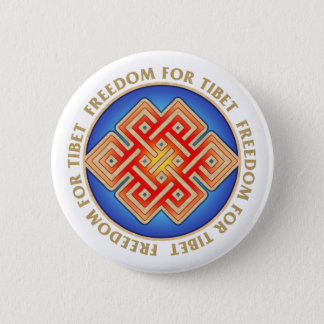 Freedom for Tibet Endless Knot Pattern Pinback Button