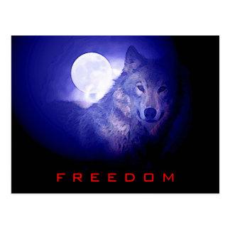 Freedom - Free Spirit Wolf & Moon Card Postcard