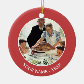 Freedom From Want Double-Sided Ceramic Round Christmas Ornament
