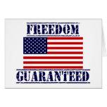 FREEDOM GUARANTEED US Flag greeting Card