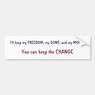 Freedom, Guns, Money, Change Bumper Stickers