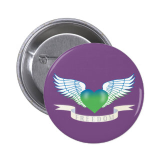 Freedom hear with wings pinback button