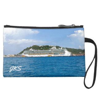 Freedom in Sint Maarten Monogrammed Suede Wristlet Wallet