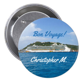 Freedom in St. Martin Personalized Bon Voyage Pinback Button