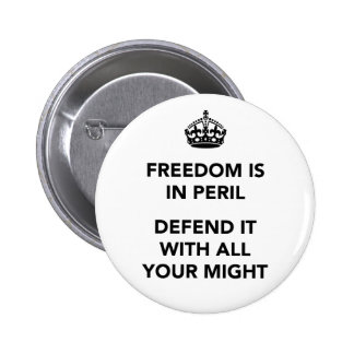 Freedom is in Peril Defend It With All Your Might Pinback Button