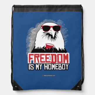 Freedom is my Homeboy Drawstring Bags