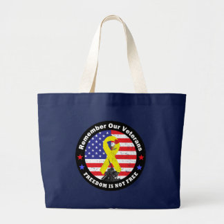 FREEDOM IS NOT FREE LARGE TOTE BAG