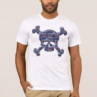 Freedom, Liberty & Brave USA  Patriotic Skull T-Shirt