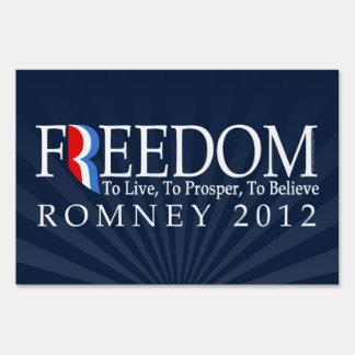 Freedom, Live, Prosper, Belive, Pro-Romney Lawn Sign