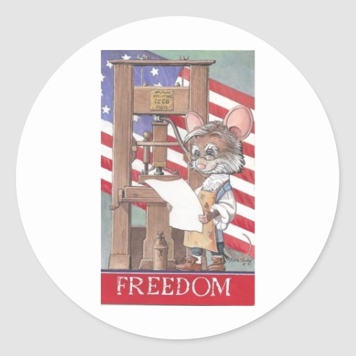 Freedom Mouse Classic Round Sticker