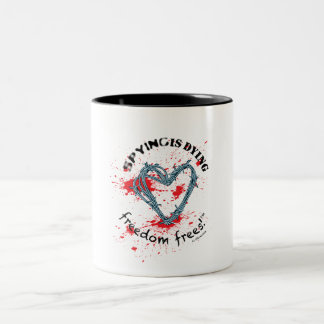 Freedom mug (2-color; SpyDieFree barbwire stain)
