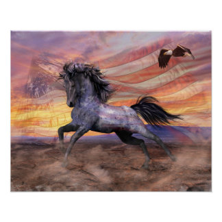 "Freedom Mustang 20""x16"" Value, Matte - see options Poster"