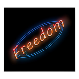 Freedom neon sign. poster
